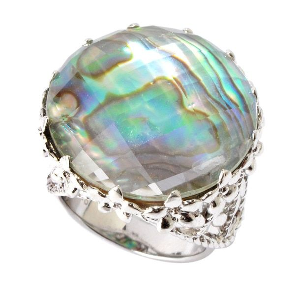 V3 Designs Sterling Silver Abalone Shell Rock Crystal Doublet Ring