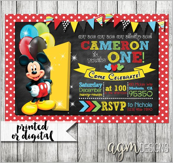 Mickey Mouse Invitation Template   23+ Free PSD, Vector EPS, AI, Format  Download | Free U0026 Premium Templates
