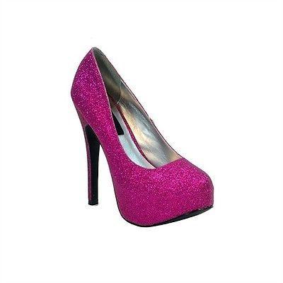 """Women's Highest Heel 5.5"""" Platform Pump Fuchsia Glitter PU Shoes"""