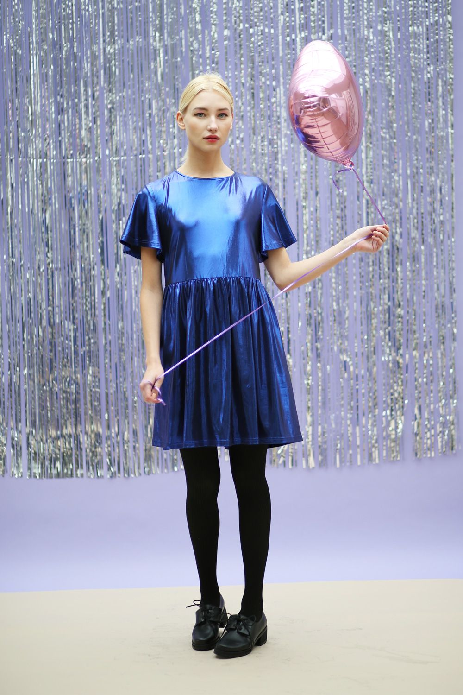 Metallic Shimmer Smock Dress