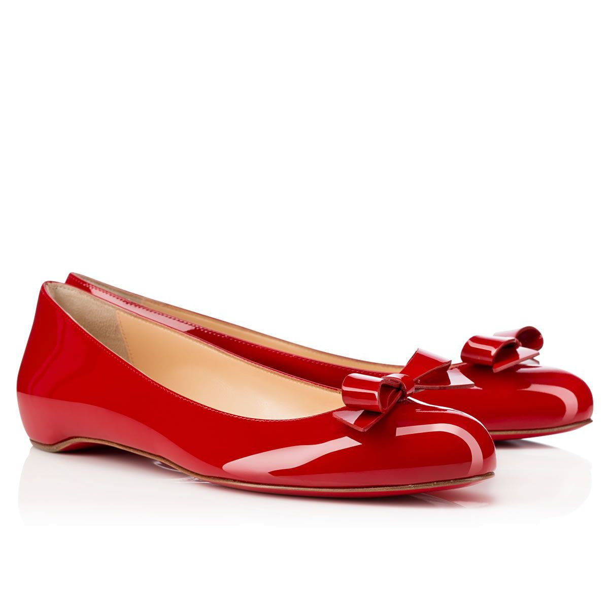 46f558c8306b Christian Louboutin Simplenodo Flat Patent Leather Ballerinas Shoes ...
