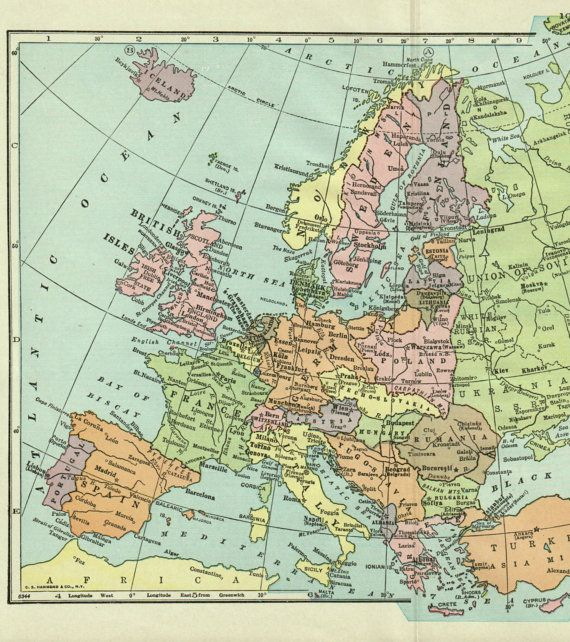 Antique Map Europe 1936 European Map Pre Ww2 By Thestoryofvintage