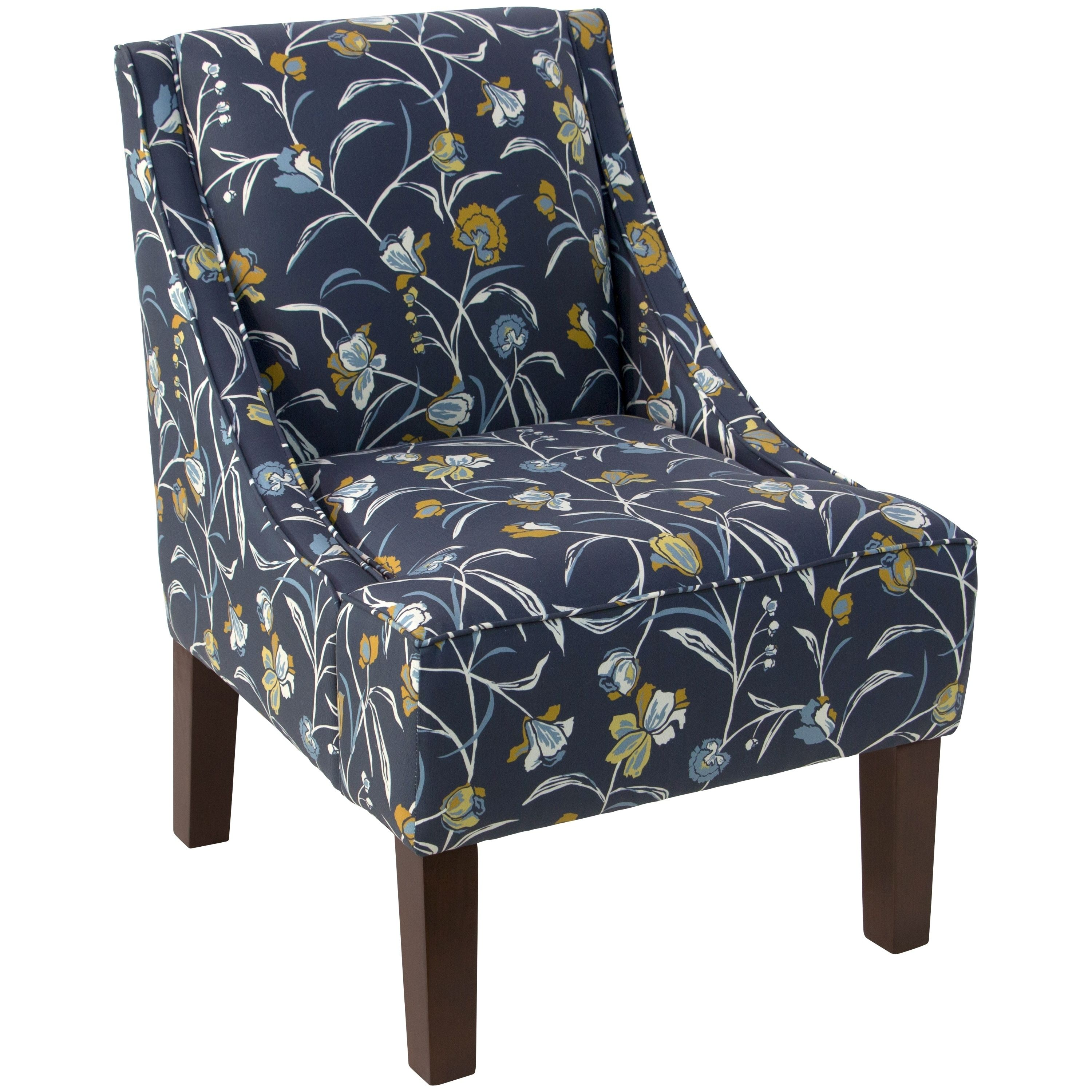Skyline Furniture Whisp Floral Navy Ochre Fabric Upholstered Accent