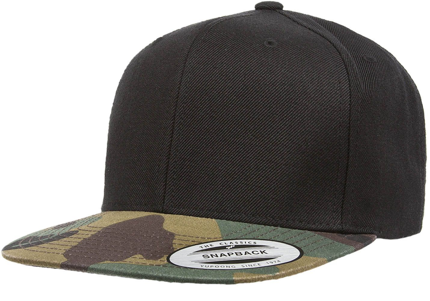 cc2cdeb4464 Flexfit Yupoong 6089TC 6 Panel Premium Classic Snapback Hat Wholesale  Black  Camo