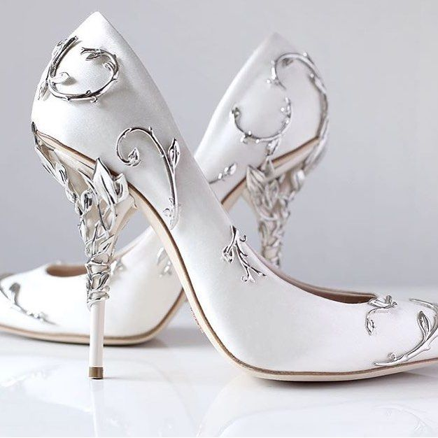 Ralph And Russo Eden Pump White Sating With Silver Leaves