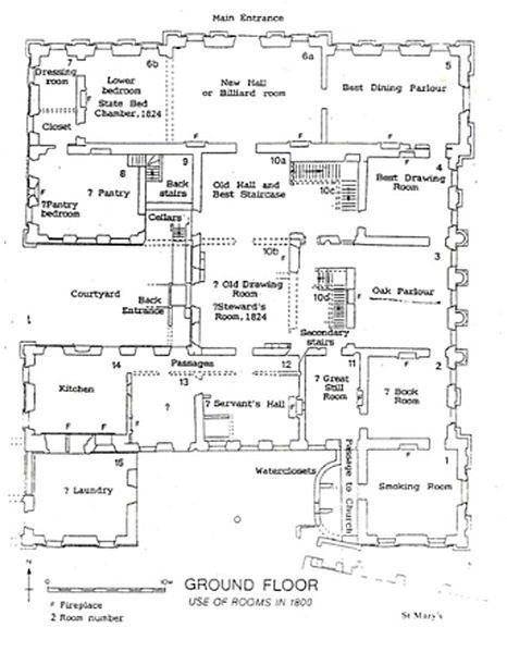 Sutton Scarsdale Hall C 1920 Ground Floor Plan Floor Plans