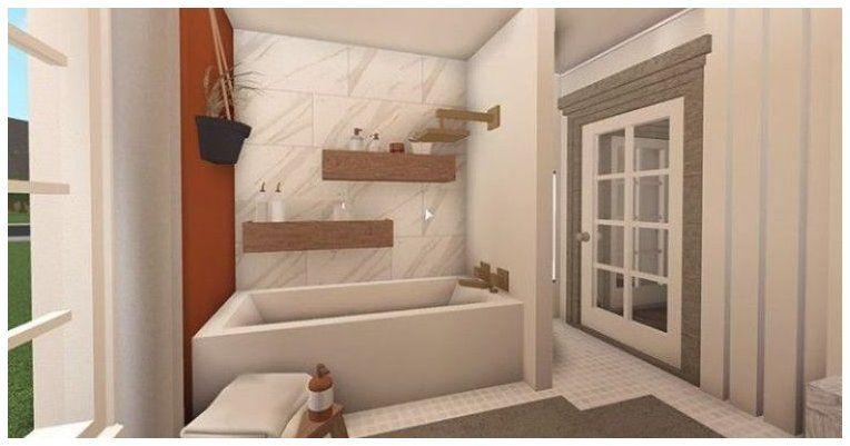 Cute Bathroom Idea Not Mine Bloxburg Bathroom Ideas Bloxburgbathroomideas In 2021 Tiny House Layout Small House Design Plans Sims House Design