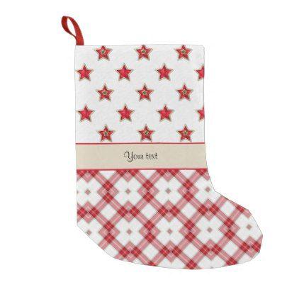 stylish red stars checkers small christmas stocking christmas