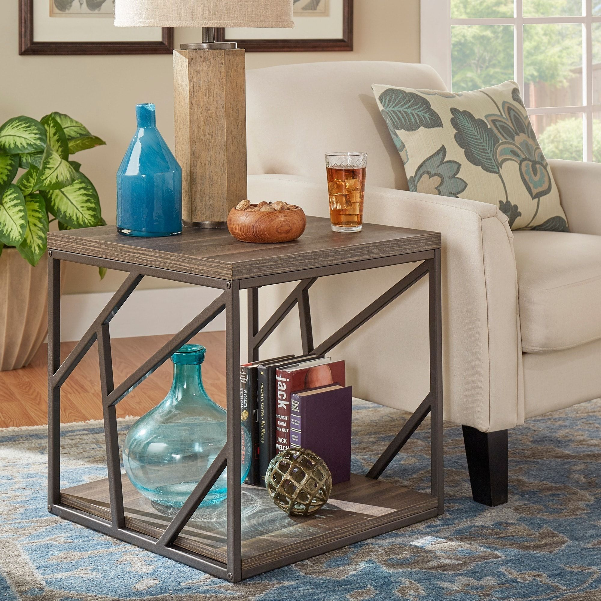 Lincoln Metal Contemporary Distressed Wood Coffee Table or Side
