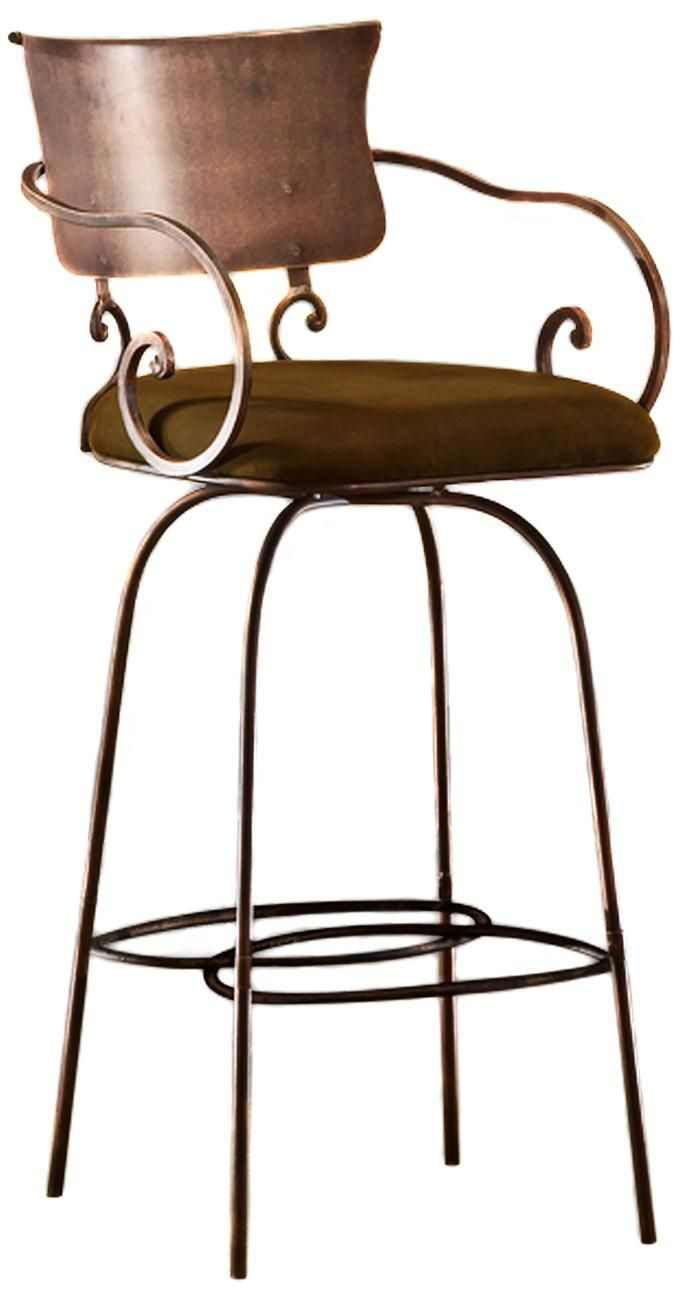 Scroll Arm Iron Swivel Counter Stool Craftsmans Style