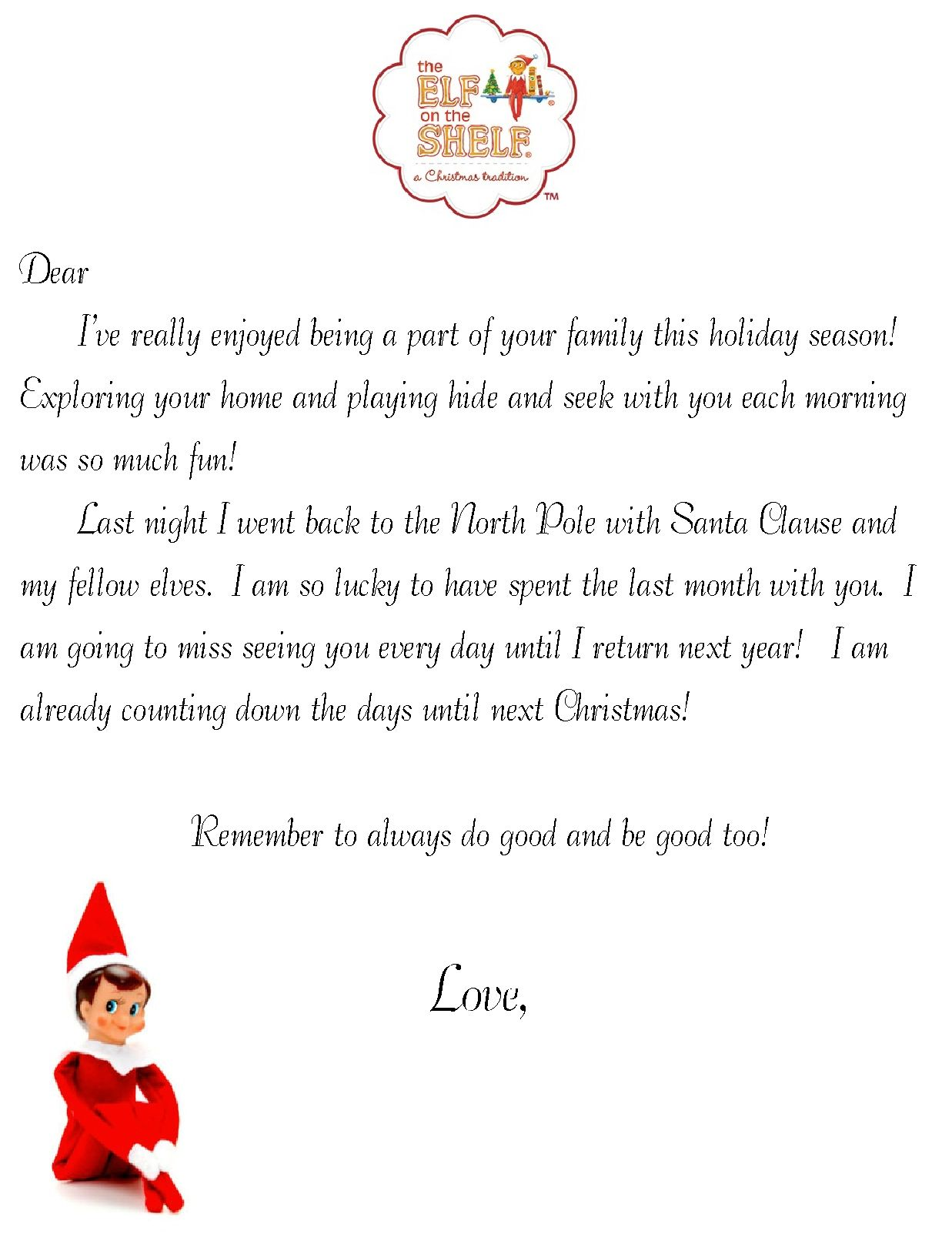 Goodbye Note For Elf On The Shelf  Christmas    Elves