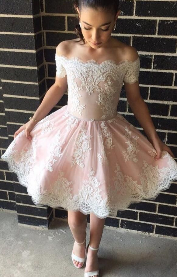 c44b15b654709 Cute A-line Off-the-shoulder Pink Short Prom Dress with Lace ...