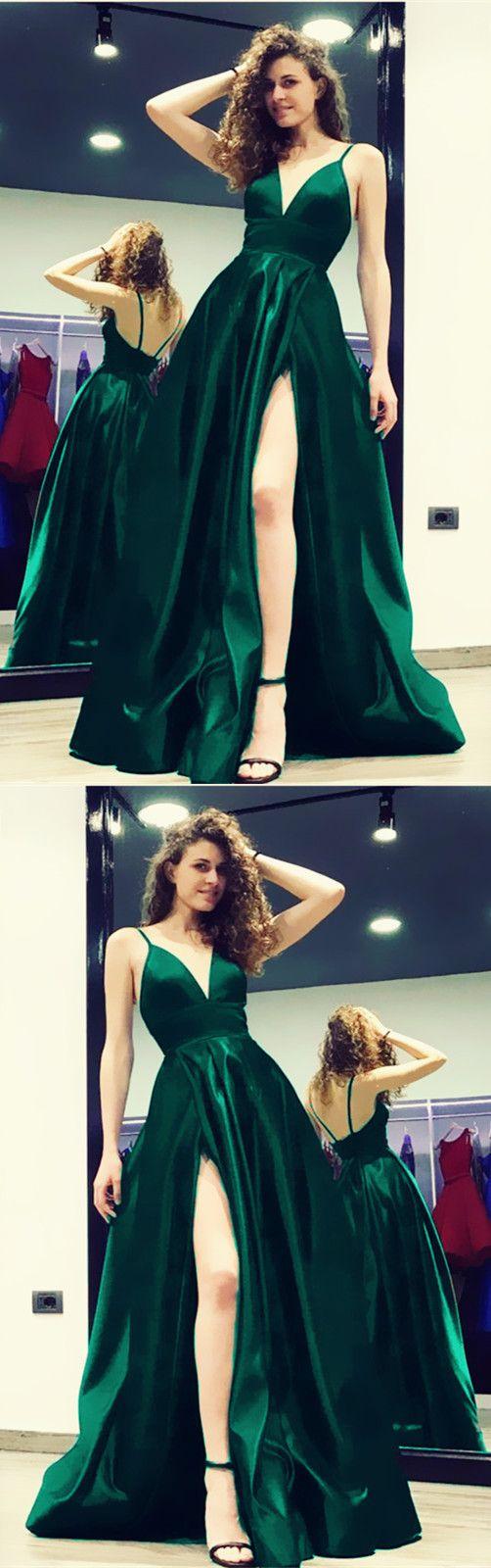 Black satin vneck evening gowns long slit prom dresses in