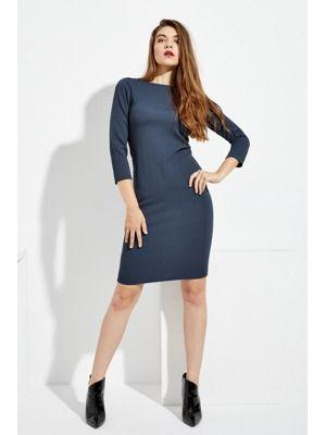 Moodo šaty dámské modré na tělo na zip  7f1411b0055