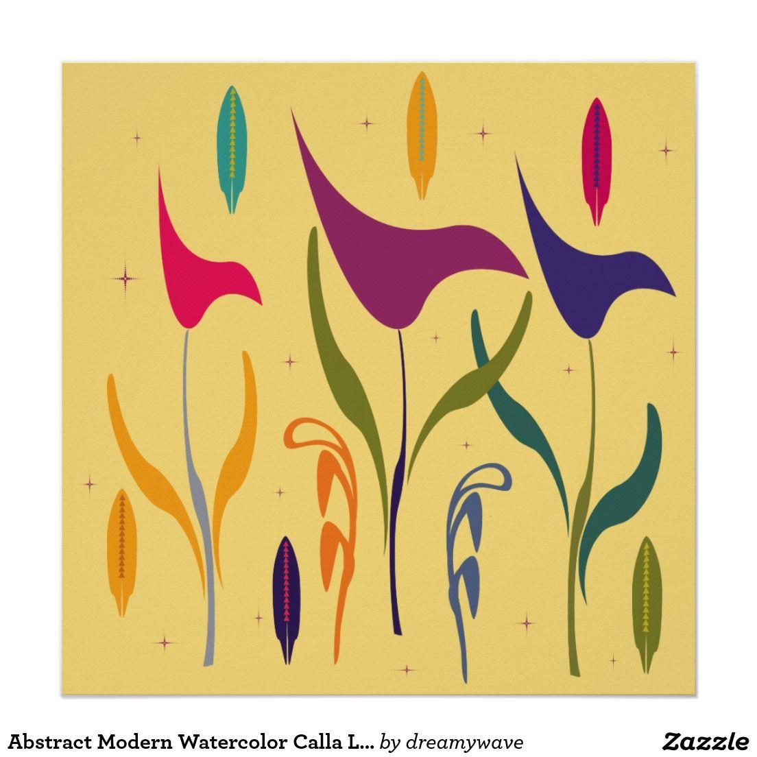 Abstract Modern Watercolor Calla Lily Impression Poster | Calla ...