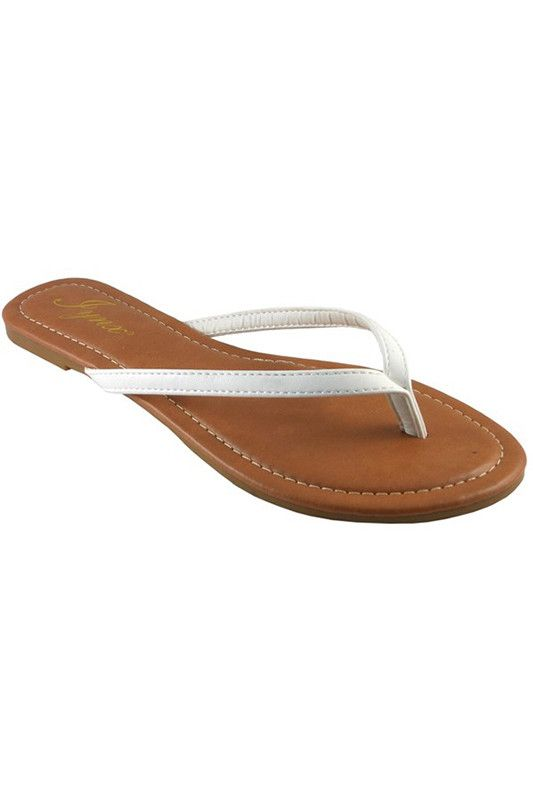 66976583ba61 Simply cute! You will love the look of these white flip flops. Fits true to  size.