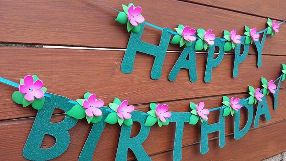 Moana Inspired HAPPY BIRTHDAY Banner CUSTOMIZABLE Blue Party