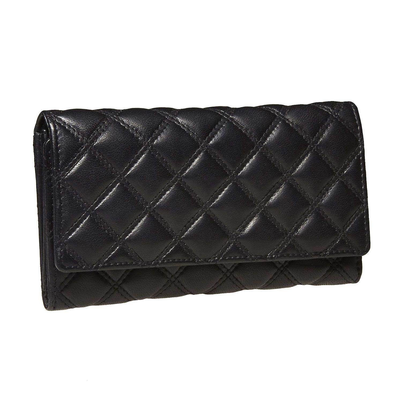 Spazioso portafoglio da donna in pelle liscia di colore nero decorato con cuciture appariscenti. All'interno trovate un ampio spazio per le banconote e le monete e molti comparti per le carte di credito.