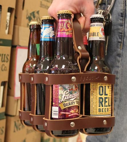 Leather Six Pack Carrier Leather Anniversary Gift 3rd Anniversary Gifts Beer