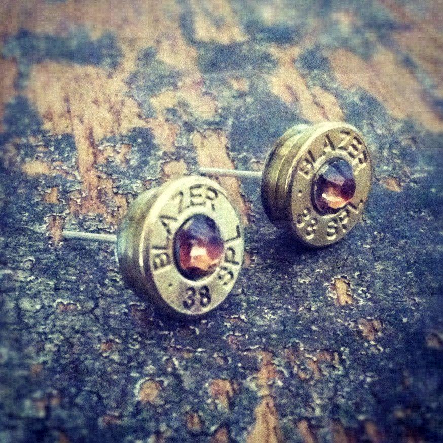 Bullet earrings Topaz crystal 38 special brass bullet casing shell ear rings shooter hunter outdoors gift. $16.98, via Etsy.