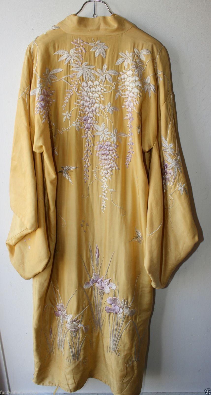 Vintage Retro Womens Yellow Floral Embroidered Long Silk Kimono Robe OSFM  3009  eaef14876