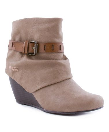 f98398f917b Another great find on  zulily! Taupe Buckle Wedge Ankle Boots by ...