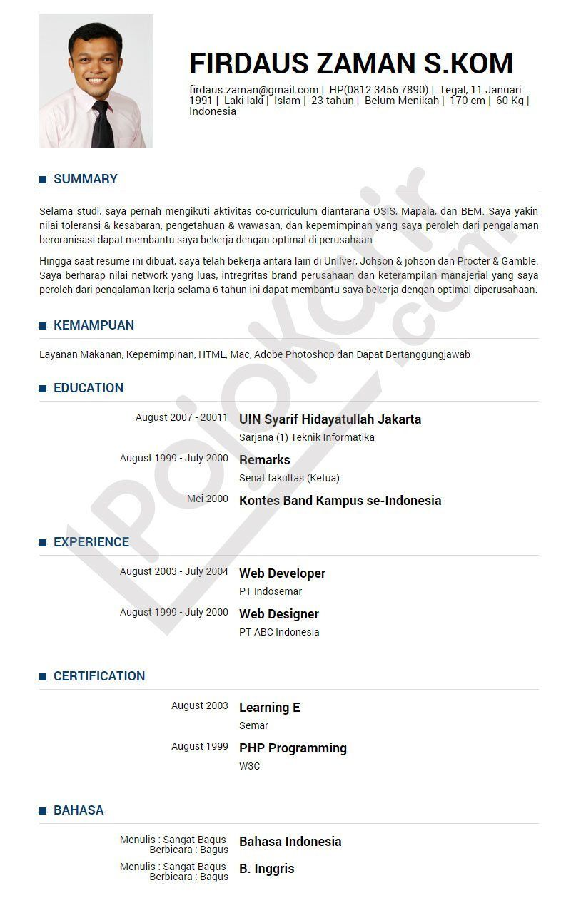 Curriculum Vitae B.Indonesia Modelos de curriculum vitae