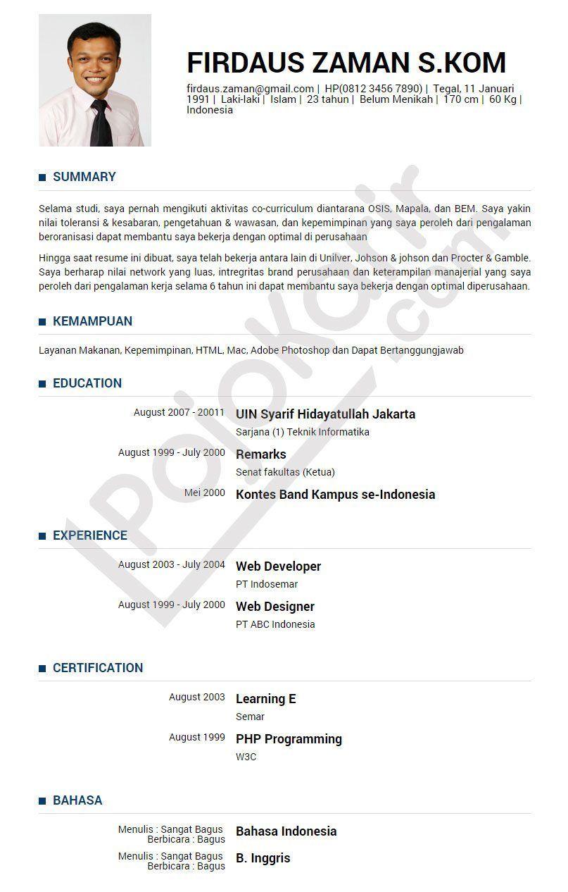 Curriculum Vitae B Indonesia Modelo De Curriculum Vitae Cv Kreatif Creative Cv Template Desain Resume