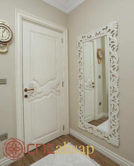 Beyaz Dekoratif Kapı Ve Oyma Boy Ayna 199 Er 231 Evesi White