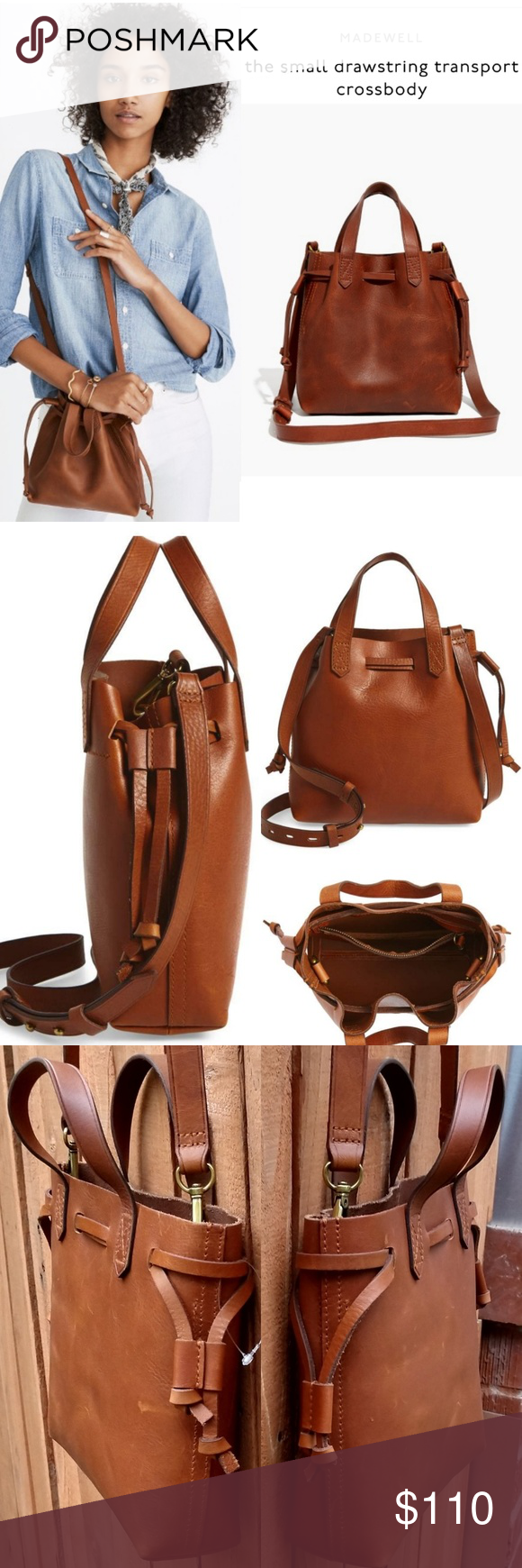 fb6b6faab MADEWELL Small Drawstring Transport Crossbody Bag 2 pieces of fine leather  are used for the body