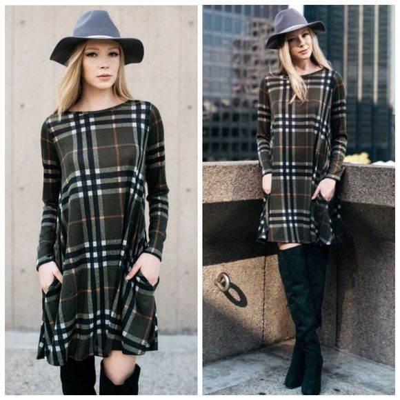 I just discovered this while shopping on Poshmark: Olive Plaid Sweater Shift Dress S M L XLBoutique. Check it out! Price: $42 Size: Various, listed by couturegypsy