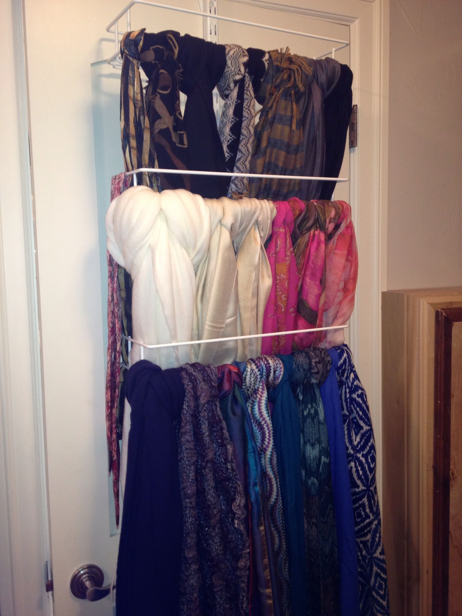 Scarf Storage Used The Elfa Door Rack And Media Racks