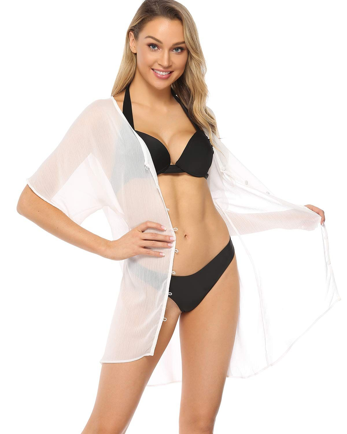 Hawiton Women's Cover Up Short Sleeve Swimsuit Cover Ups