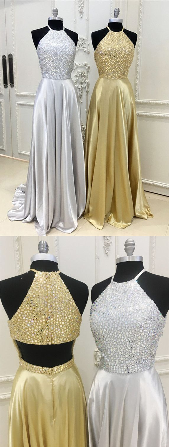 Sparkly crystal beaded halter long satin open back prom dresses