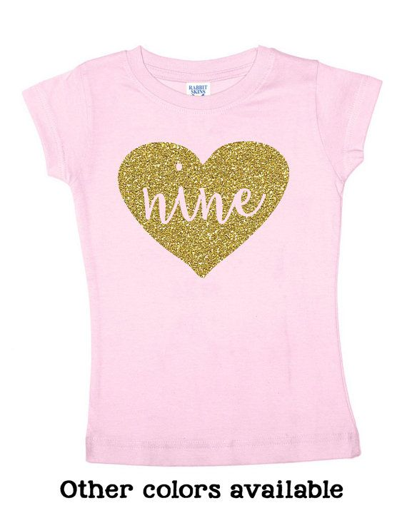 Nine Glitter Shirt 9 Year Old Birthday 4 Color
