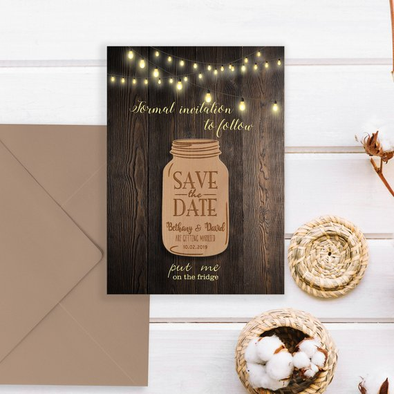 Wood Save The Date Wedding Magnets Mason Jar Save The Date Magnet