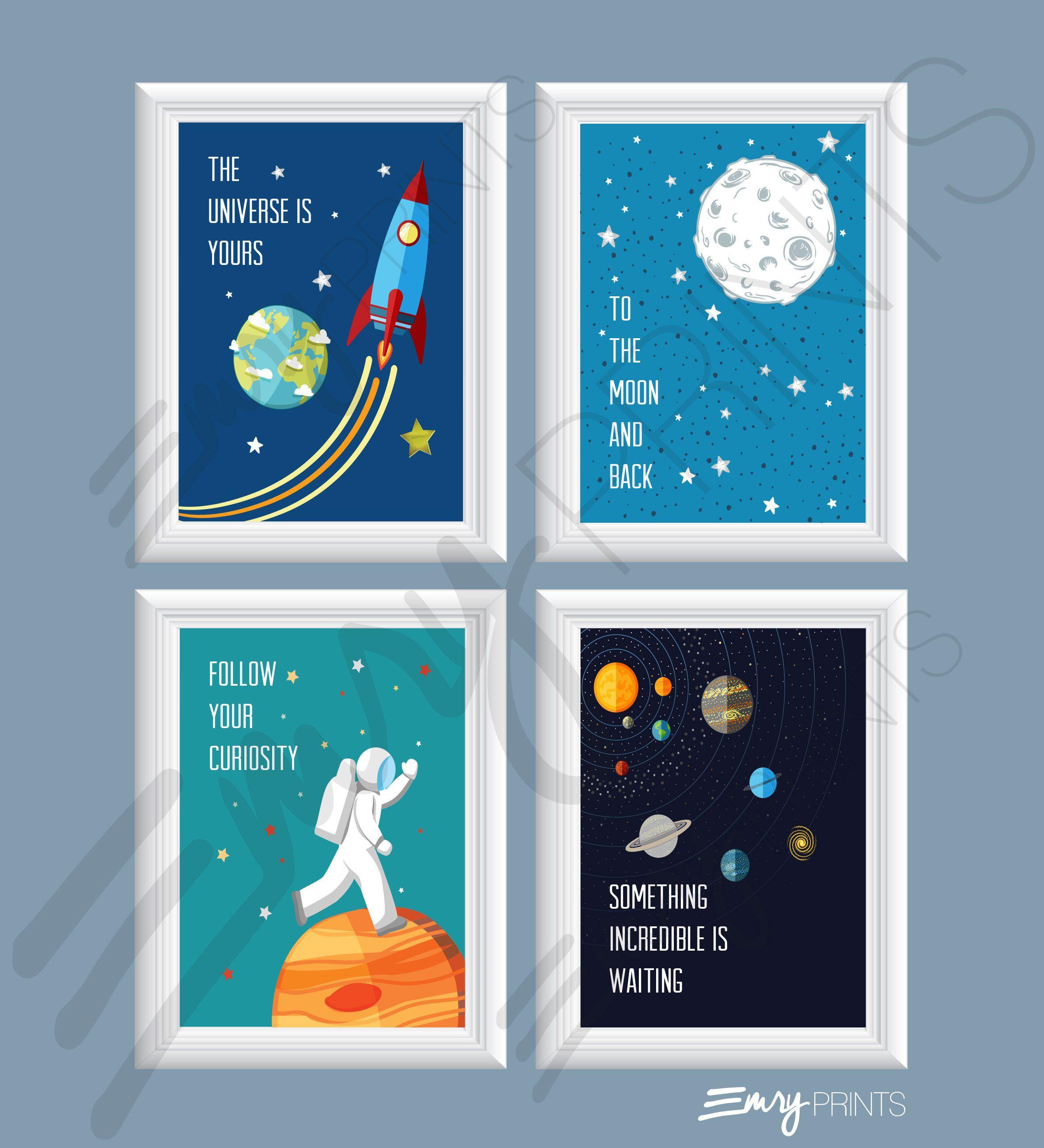 E Wall Art Solar System Decor Planet Prints