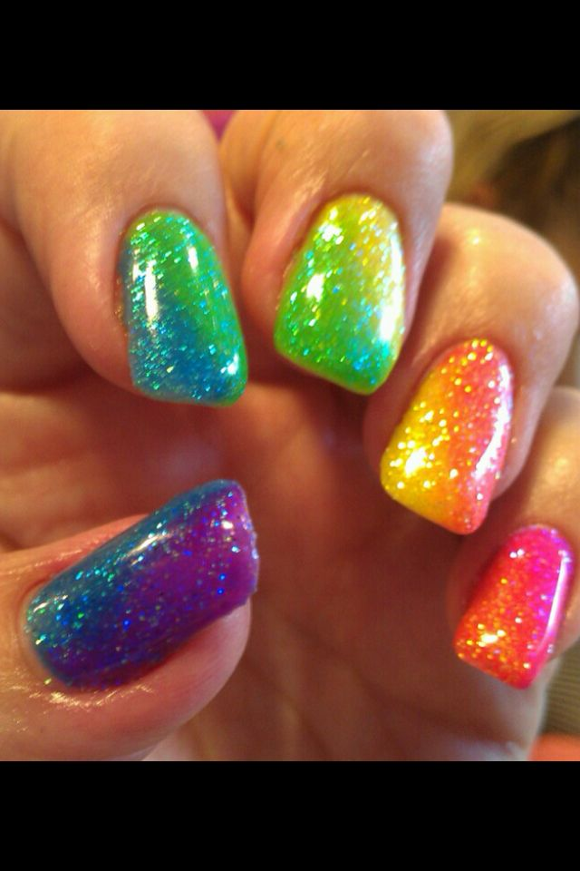 Rainbow nails done with glitter and gel by Erin Hart at The Nail ...