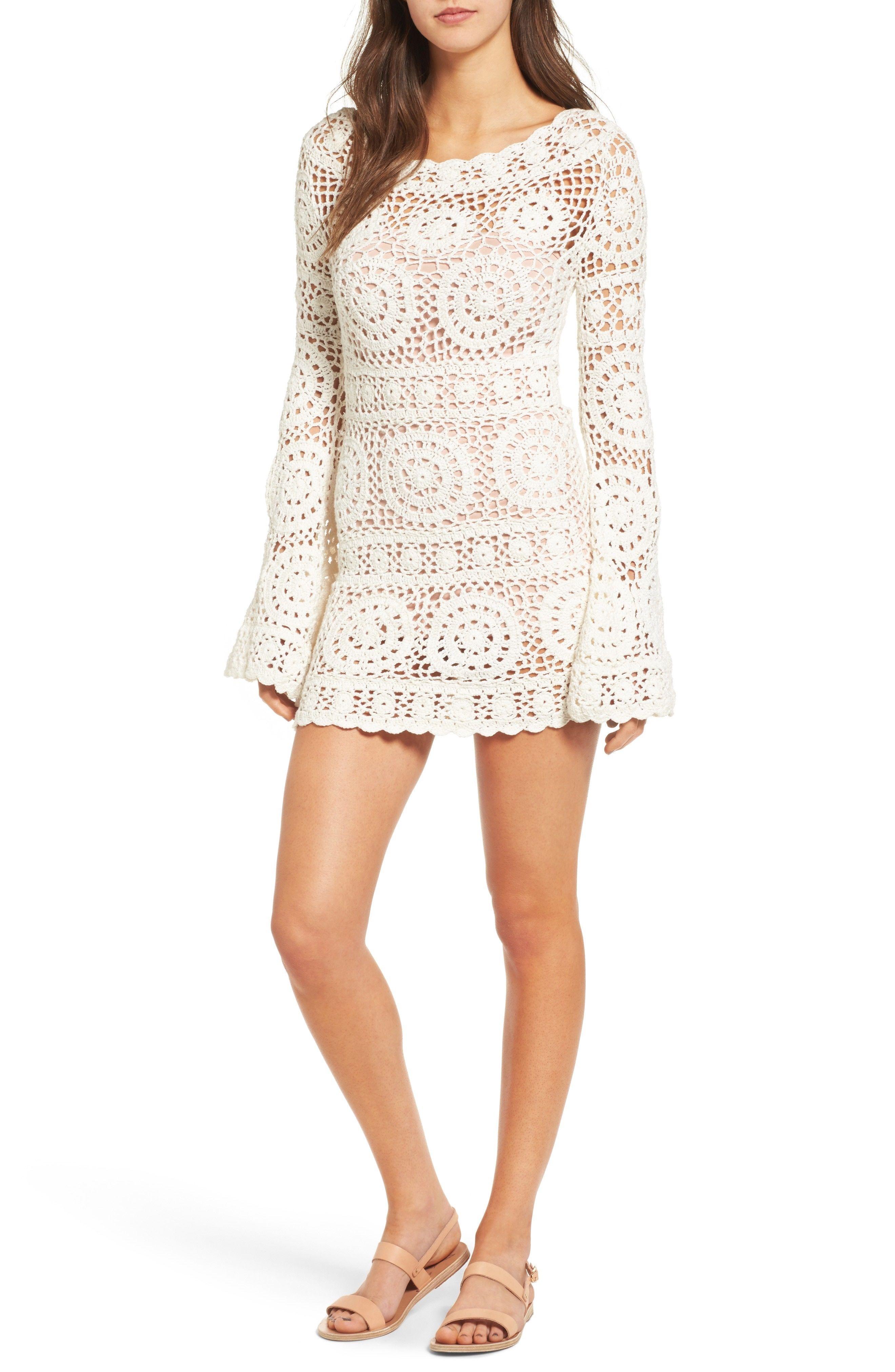Majorelle Harvest Crochet Minidress Crochet Short Dresses Boho Mini Dress White Boho Dress