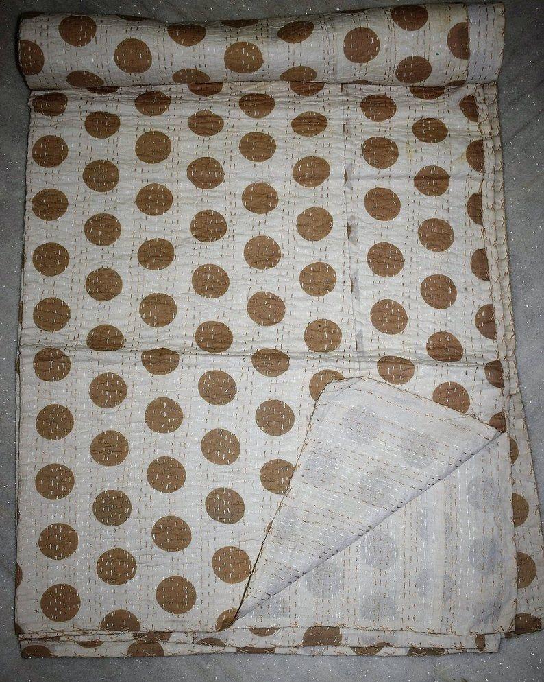 Handmade Vintage Kantha Quilt White Polka Dot Cotton Bedspread Ethnic Vintage