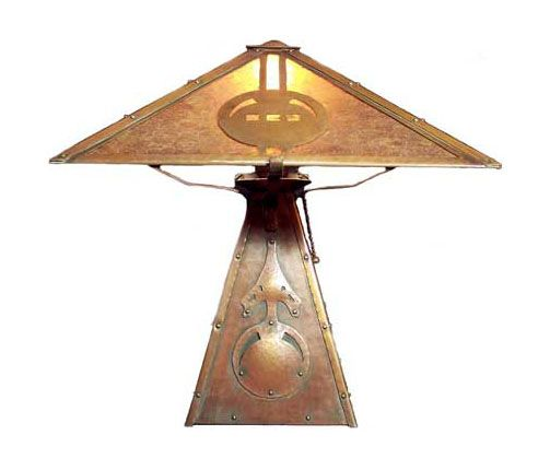 Handmade Hammered Copper Lamp With Arrow Motif From Delta Copper Shop Art Deco Lamps Craftsman Lamps Arts Crafts Style