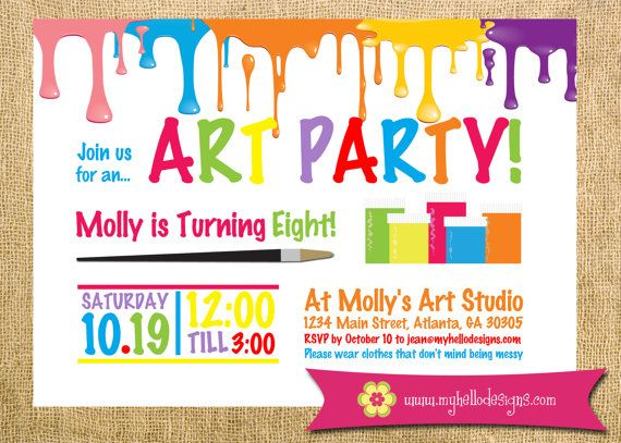 art party or paint party invitation from sunshineandpop on etsy, Party invitations