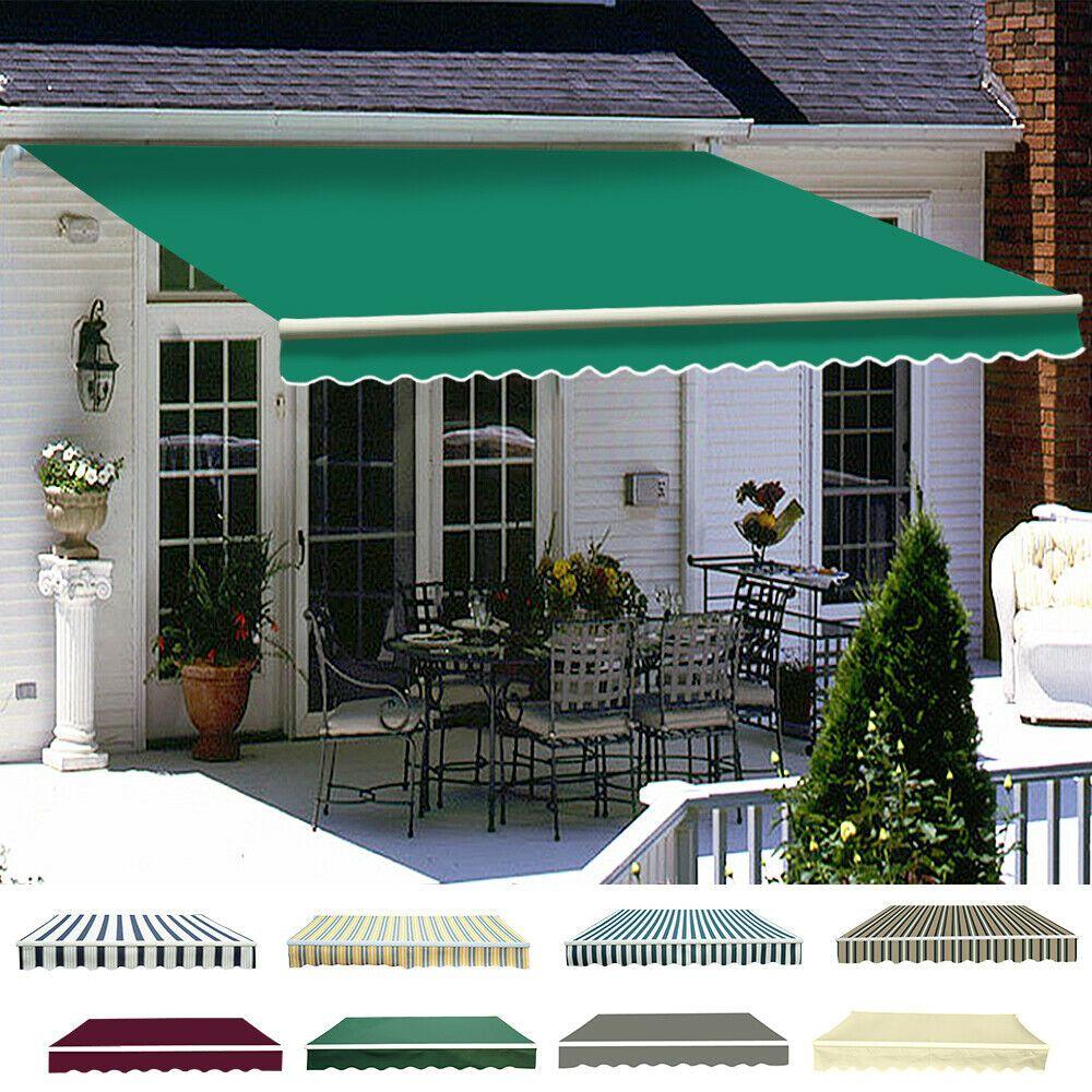 Patio Diy Manual Awning Garden Canopy Sun Shade Retractable Shelter Top Fabric In 2020 Patio Canopy Patio Awning Patio Sun Shades