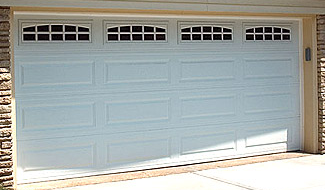 White Double Car Garage With Cascade Window Inserts And Insulated Glass Garage Doors Double Garage Door Window Inserts