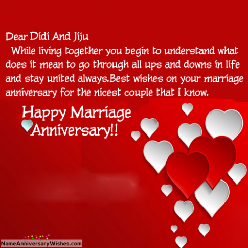 Anniversary Card For Di And Jiju Happy Marriage Anniversary Marriage Anniversary Anniversary Wishes For Husband