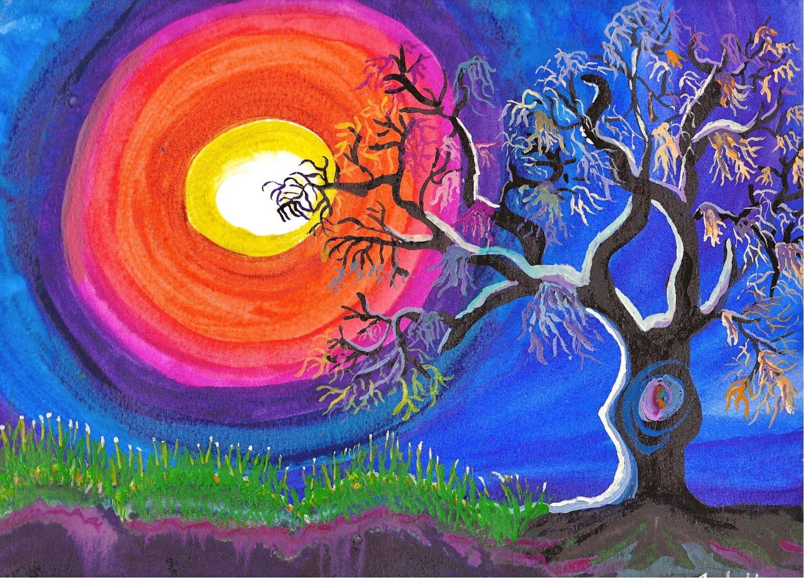 Southern Pumpkin Moon Elementary Art Projects Happy Paintings Mom Art