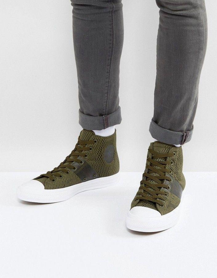 71bb657aab7 Converse Chuck Taylor All Star II Hi Sneakers In Green Mesh 155747C ...