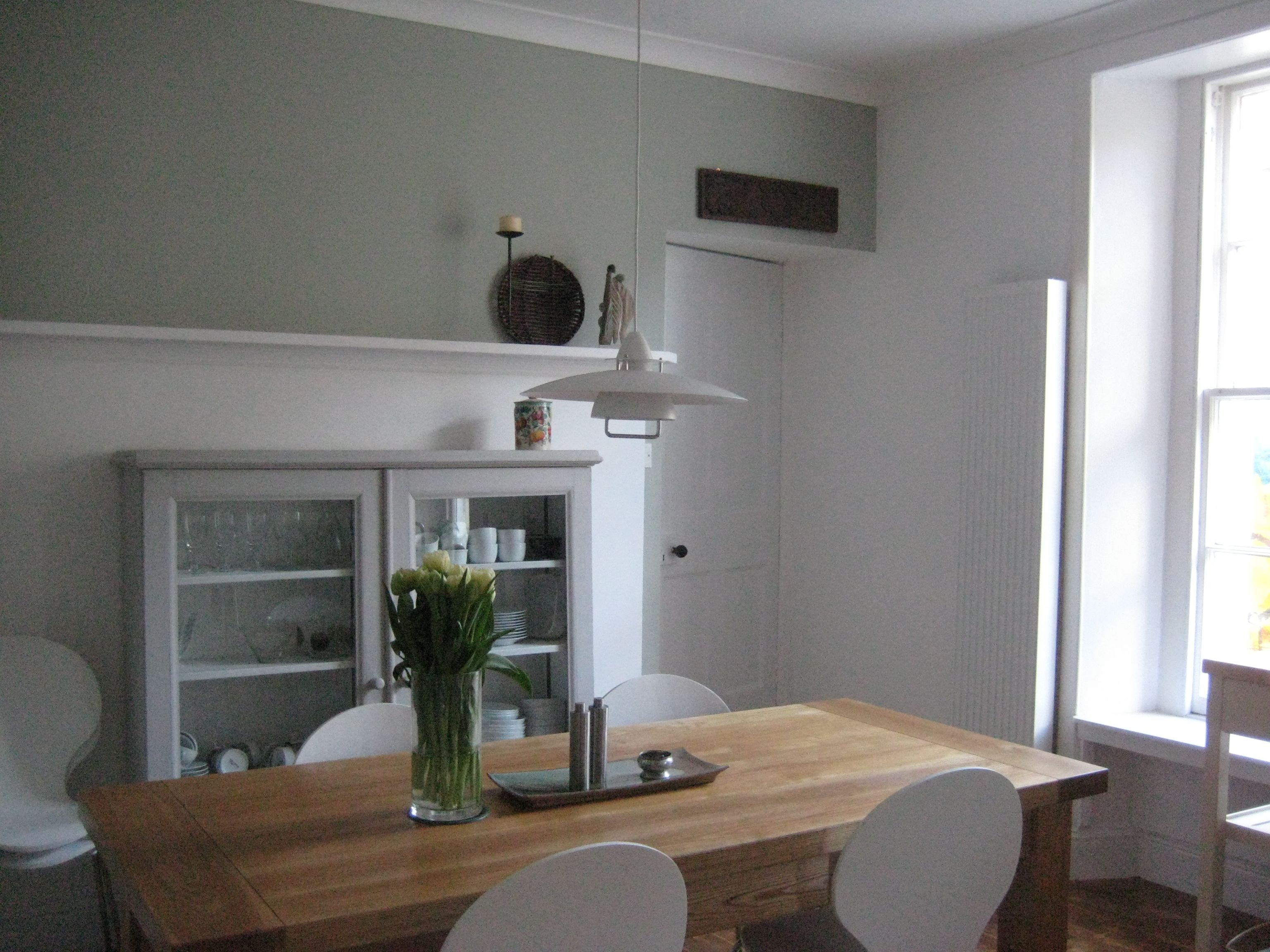 Farrow And Ball Mizzle.Dining Area In Farrow Ball Mizzle And White Cabinet In