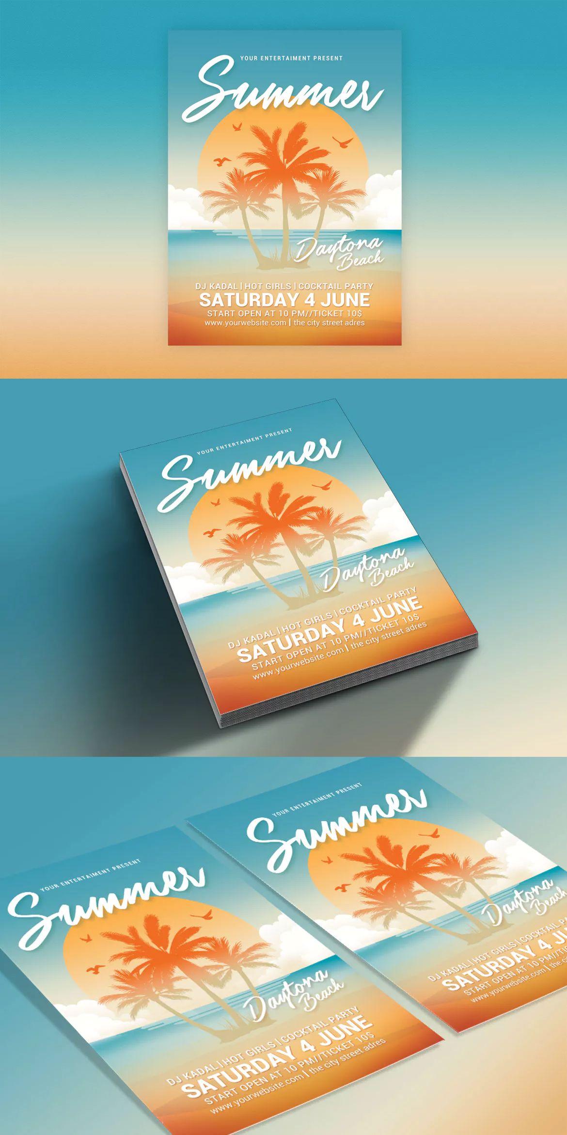 Summer Beach Party Flyer Template Psd Flyer Templates Pinterest