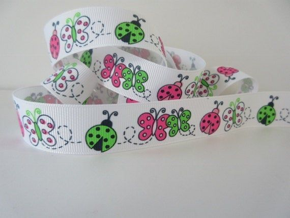 Butterfly and Ladybug Ribbon 7/8″ inch wide Pink and Green Grosgrain Children Birthday Party Decor Gift Basket Scrapbook Card GJ014